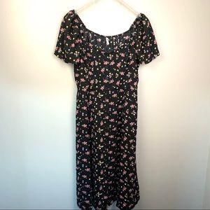 Xhilaration Floral  Black Midi Dress Button Front